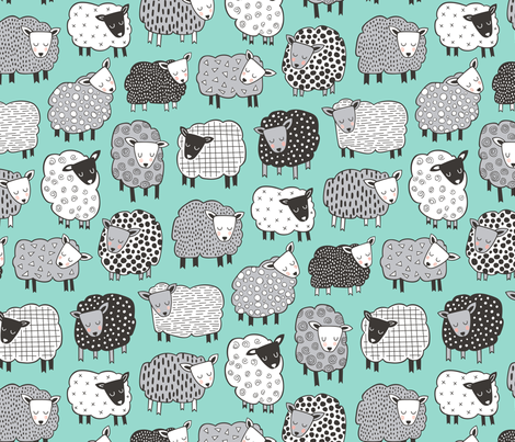Sheep Geometric Patterned Black & White Grey on Mint Green LARGE fabric by caja_design on Spoonflower - custom fabric