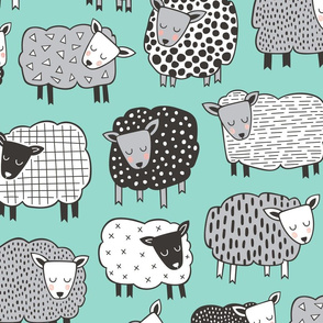 Sheep Geometric Patterned Black & White Grey on Mint Green LARGE