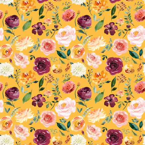 """4"""" Floral Leaves Autumn Watercolor on Mustard fabric by greenmountainfabric on Spoonflower - custom fabric"""