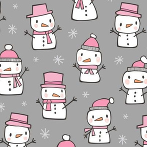 Winter Christmas Snowman & Snowflakes Pink on Grey