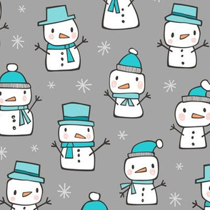 Winter Christmas Snowman & Snowflakes Blue on Grey