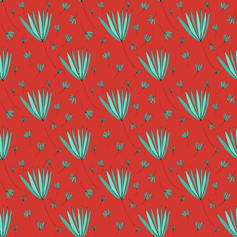 Teal and Red Botanical Nature Pattern fabric by emmafreemandesigns on Spoonflower - custom fabric