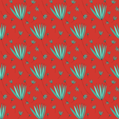 Teal and Red Botanical Nature Pattern