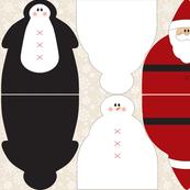 Snowmen Santa Penguin Dolls