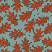 Red Oak Leaves - Blue Spruce