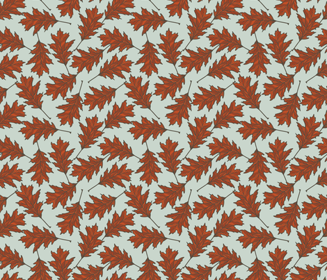 Red Oak Leaves - X-Light Spruce fabric by fernlesliestudio on Spoonflower - custom fabric