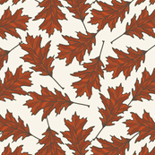 Red Oak Leaves - Ivory