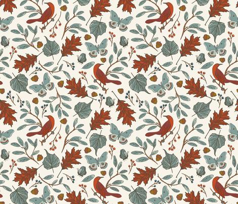 Red Bird - Ivory fabric by fernlesliestudio on Spoonflower - custom fabric