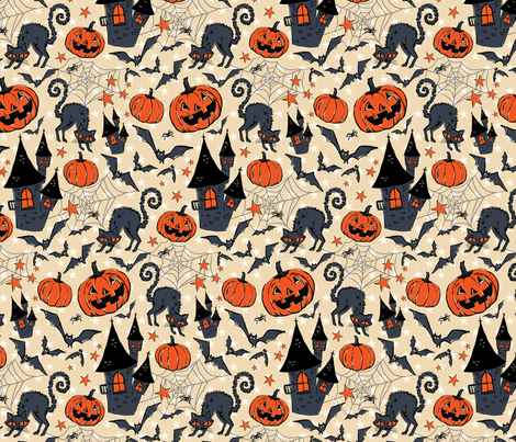 Vintage Halloween- bobcat's castle fabric by katybobsyouraunty on Spoonflower - custom fabric