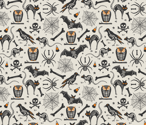 Halloween X-Ray - Tan & Black fabric by heatherdutton on Spoonflower - custom fabric