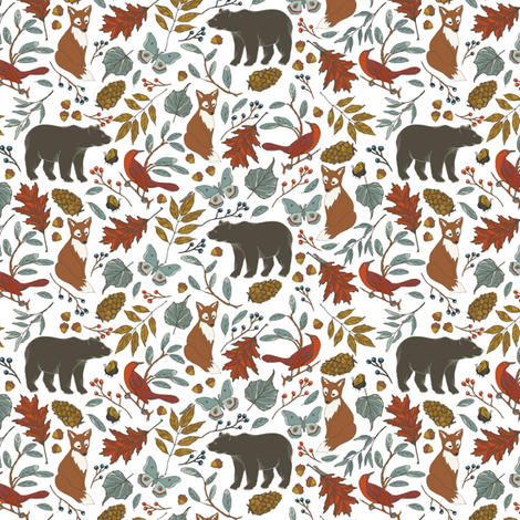 Autumn in the Air, Small - White  fabric by fernlesliestudio on Spoonflower - custom fabric