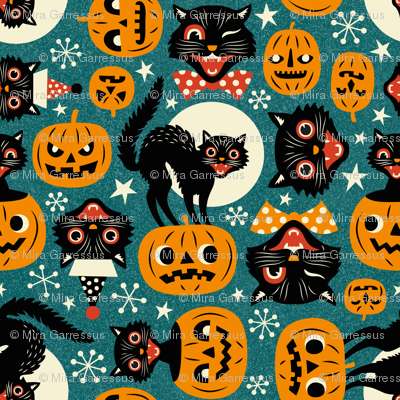 spooky vintage cats and pumpkins