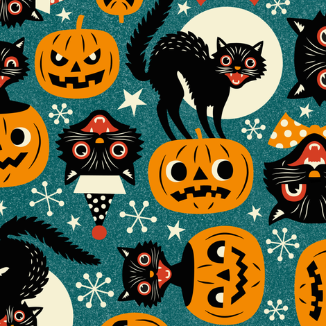 spooky vintage cats and pumpkins fabric by mirabelleprint on Spoonflower - custom fabric