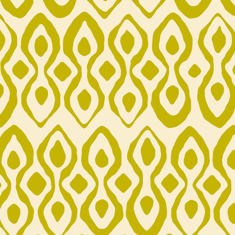 brocade chartreuse ivory fabric by scrummy on Spoonflower - custom fabric