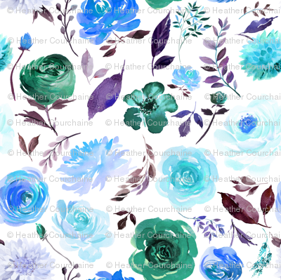 "4"" Blue Watercolor Floral"