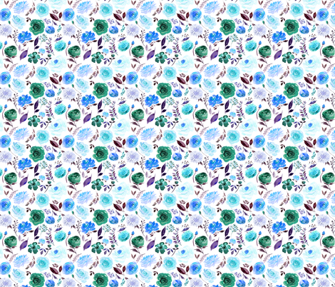 "4"" Blue Watercolor Floral fabric by greenmountainfabric on Spoonflower - custom fabric"