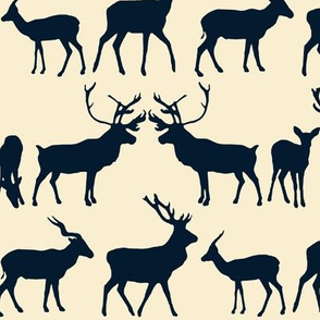 deer silhouette indigo ivory