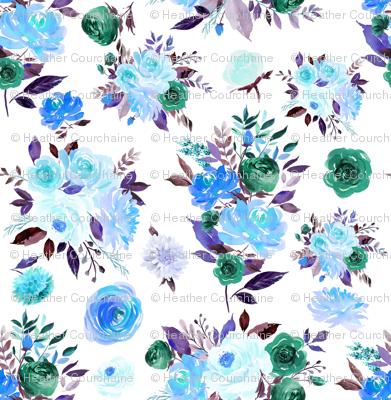 """2"""" BLUE Watercolor Floral Bouquets"""