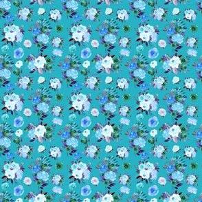 """2"""" BLUE Watercolor Floral Bouquets on Blue"""