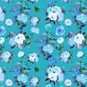 """4"""" BLUE Watercolor Floral Bouquets on Blue"""