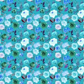 """2"""" BLUE Watercolor Floral on Blue"""
