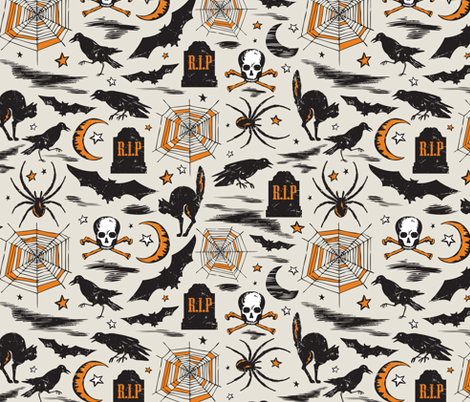 Hallows' Eve - Vintage Halloween Tan & Orange fabric by heatherdutton on Spoonflower - custom fabric
