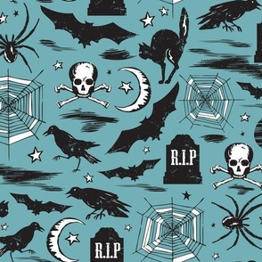 Hallows' Eve - Vintage Halloween Blue & Black