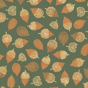 Bayeux acorns on olive green