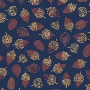 red acorns on navy blue