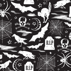 Hallows' Eve - Vintage Halloween Black & White Reverse