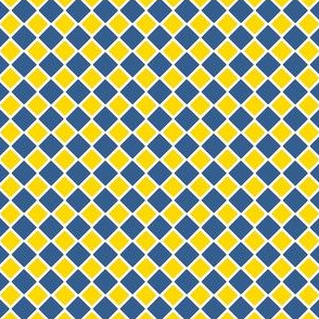 Talavera - Half Inch Large and Small Check - Blue and Yellow