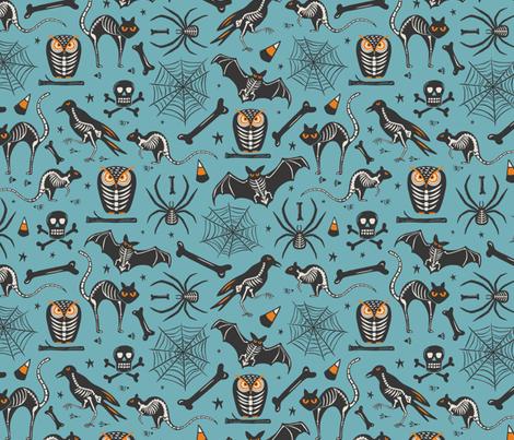 Halloween X-Ray - Blue & Black fabric by heatherdutton on Spoonflower - custom fabric