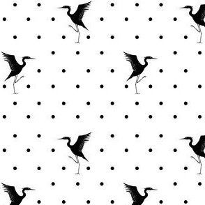 herons and dots in black