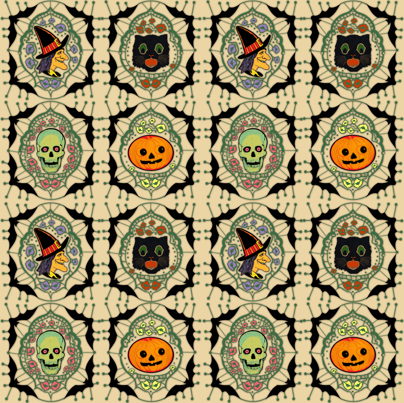 Vintage Halloween fabric by inkysunshine on Spoonflower - custom fabric