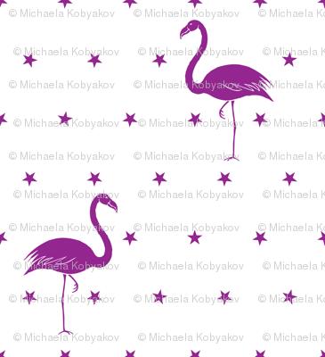 flamingo and stars in purple