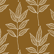 Leaf Outline - Ivory, X-Dark Caramel
