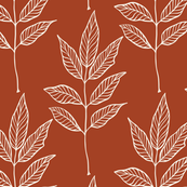 Leaf Outline - Ivory, Cinnamon