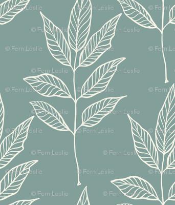 Leaf Outline - Ivory, Blue Spruce