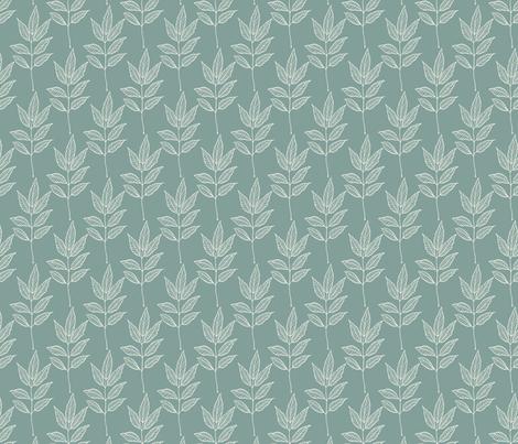 Leaf Outline - Ivory, Blue Spruce fabric by fernlesliestudio on Spoonflower - custom fabric