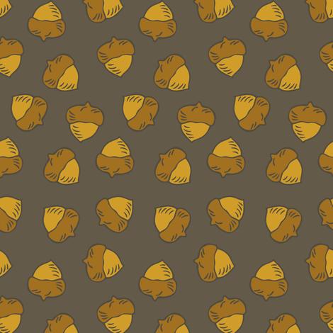 Acorns - Dark Clay fabric by fernlesliestudio on Spoonflower - custom fabric