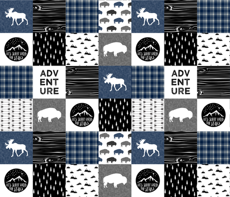 Happy Camper Wholecloth with buffalo (navy) fabric by littlearrowdesign on Spoonflower - custom fabric