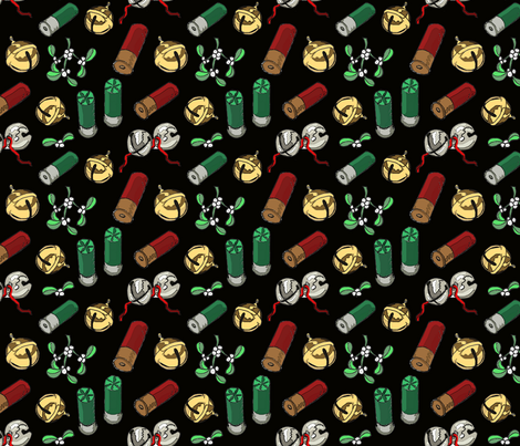 Jingle_bells_shotgun_shells_black_6x6 fabric by leroyj on Spoonflower - custom fabric