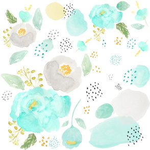 "18"" TEAL GREY & GOLD WATERCOLOR FLORALS"