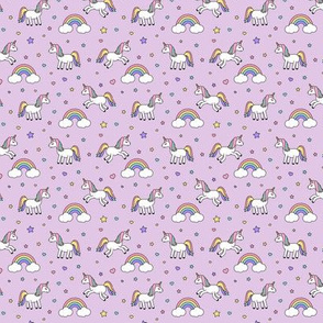 (micro print) unicorns with rainbows (pastel) on purple