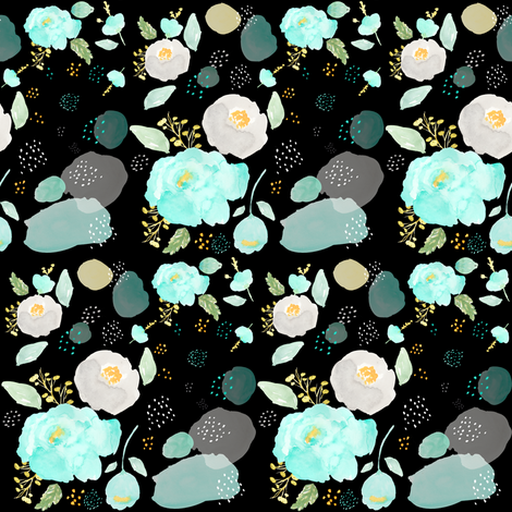 "4""  TEAL GREY & GOLD WATERCOLOR / BLACK BACKGROUND fabric by shopcabin on Spoonflower - custom fabric"