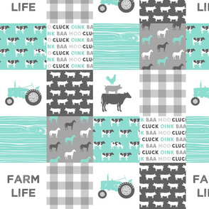 "4"" small scale - farm life wholecloth - dark aqua woodgrain"