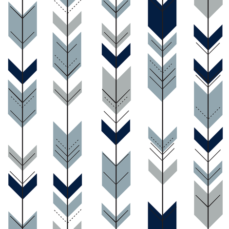 (small scale) Fletching arrows (navy, rustic woods blue, grey)- wholecloth coordinate fabric by littlearrowdesign on Spoonflower - custom fabric