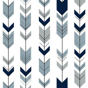 (small scale) Fletching arrows (navy, rustic woods blue, grey)- wholecloth coordinate