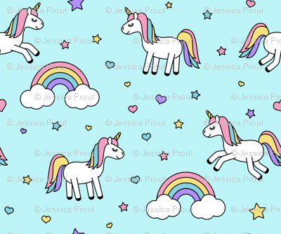(micro print) unicorns with rainbows (pastels) on blue