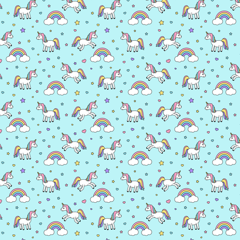 (micro print) unicorns with rainbows (pastels) on blue fabric by littlearrowdesign on Spoonflower - custom fabric